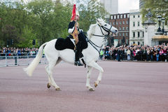 Brittiska kungliga vakter utför ändra av vakten i Buckingham Palace Royaltyfri Foto