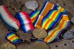 Brittiska medaljer för världskrig ett Arkivbilder