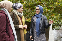 Brittiska muslimska kvinnliga vänner som möter i stads- miljö Royaltyfria Bilder
