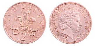 brittiska myntencentmynt två Royaltyfria Bilder
