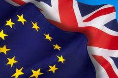 Brittiska och europeiska flaggor - Brexit royaltyfri bild