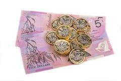 Brittiska pund och australiska dollar Arkivfoto