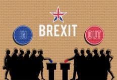 Brittiska väljare tränger ihop konturn i Brexit med in och ut tecken royaltyfri illustrationer
