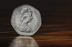 Brittiskt mynt med drottningen Elisabet Royaltyfri Fotografi