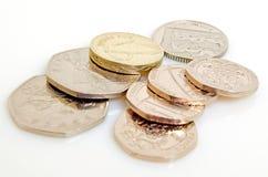 Brittiskt pund och encentmynt Arkivbilder