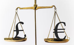 Brittiskt pund och eurovalutaförhållande Arkivbild