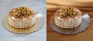 Brittle cake with nuts - clipping path Stock Photo
