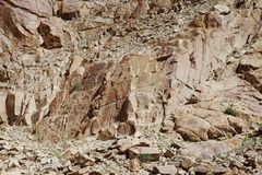 Brittle and fractured Granite rocks in ladakh Royalty Free Stock Photography