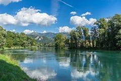 BRIVIO, ITALY/ EUROPE - SEPTEMBER 18: River Adda at Brivio Lomba Royalty Free Stock Photos
