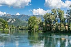 BRIVIO, ITALY/ EUROPE - SEPTEMBER 18: River Adda at Brivio Lomba Royalty Free Stock Photo