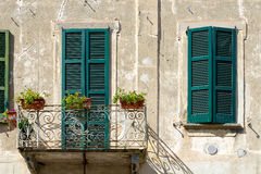 BRIVIO, ITALY/ EUROPE - SEPTEMBER 18: Shuttered Windows on a Building in Brivio Lombardy Italy on September 18, 2015 stock photos