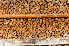 Brixen im Thale, Tirol/Austria: March 28 2019: Wood for a fire place stacked up against a wall of a house in Austria stock photos