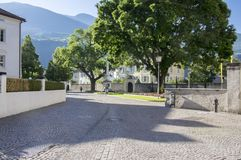 Brixen streets, early morning, Bozen, Italy, Europe. Brixen streets in early morning, Bozen, Italy, Europe, greenery on streets stock images