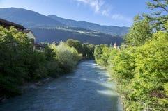 Brixen streets, early morning, Bozen, Italy, Europe. Brixen river during early morning, blue sky and mountains, Bressanone Bozen, Italy, Europe stock photography