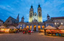Bressanone Christmas market in the evening. Trentino Alto Adige, northern Italy. Brixen is a town in South Tyrol in northern Italy, located about 40 kilometres royalty free stock images