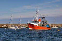 BRIXHAM, DEVON/UK - 7月28日:在Brixham停住的红色拖网渔船ha 免版税库存照片
