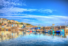 Brixham Devon English harbour summer day with brilliant blue sky Royalty Free Stock Photography