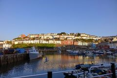 Brixham Harbor Harbour Devon England UK with coloured colored houses in the background Royalty Free Stock Photography