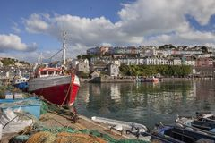 Brixham harbour, Devon, England. Fishing boats at Brixham harbour, Devon, England Stock Photos