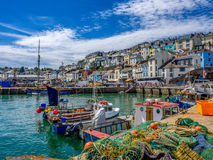 Brixham Visserijdorp - Devon United Kingdom stock foto's
