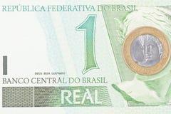 BRL för brasilian 1 valuta Fotografering för Bildbyråer