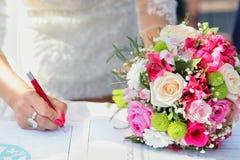 bröllop för bukettbrud s Royaltyfria Bilder