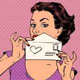 Bröllop för dag för valentin för meddelande för kvinnabokstavsförälskelse Arkivfoton