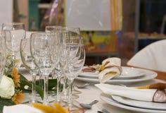 bröllop för tabell för beröminfall set Fotografering för Bildbyråer