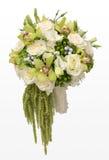Bröllopbukett av vita rosor och gröna orkidér Arkivfoton