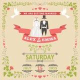 Bröllopinbjudan med bröllopkläder och den blom- ramen Royaltyfri Fotografi