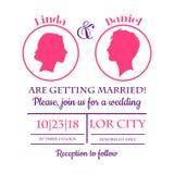 Bröllopinbjudankort Arkivbild