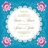Bröllopkortet med snör åt doilyen Arkivbild