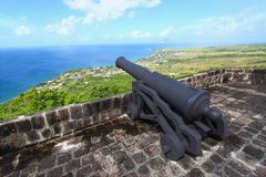 Brmstone Hill Fortress. A cannon points towards the sea at Brimstone Hill Fortress National Park on the Caribbean island of St Kitts Stock Images