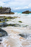 Bränning och hav Bermuda Arkivbild