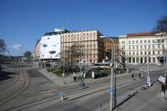 Brno centre tramwaju poręcze fotografia royalty free