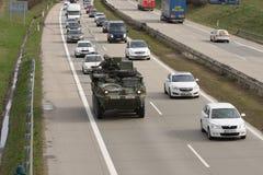 Brno, Checo República-março 30,2015: Passeio do Dragoon - trem do exército dos EUA Fotografia de Stock