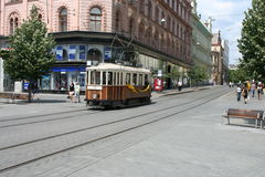 Brno city centre _ vintage tram Royalty Free Stock Photos
