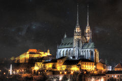 Brno city. The historic city of Brno in the night with a starry sky. The Church of St. Peter and Paul Petrov. castle Åpilberk stock photos