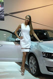 Hostess with Skoda Octavia 3rd Generation on display at the 11th edition of International Autosalon Brno Royalty Free Stock Photos