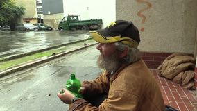 BRNO, CZECH REPUBLIC, AUGUST 11, 2015: Authentic Emotion Homeless Man Senior And A Place To Sleep. Authentic emotion homeless man senior and a place to sleep stock video