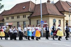 Brno, Czech Republic August 16, 2016. Czech traditional feast. Tradition folk dancing and entertainment. Royalty Free Stock Images