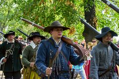 Historical reenactment Day of Brno. stock photos