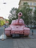 Pink tank in Brno. BRNO, CZECH REPUBLIC - CIRCA MAY 2017: Pink tank, controversial piece released in 1991 by Czech artist David Cerny Royalty Free Stock Photos