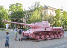 Pink tank in Brno. BRNO, CZECH REPUBLIC - CIRCA MAY 2017: Pink tank, controversial piece released in 1991 by Czech artist David Cerny Royalty Free Stock Photography