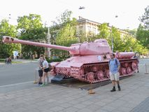 Pink tank in Brno Royalty Free Stock Images