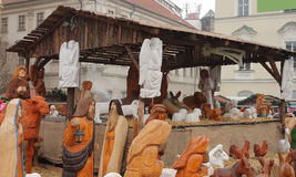 Brno,Czech republic-December 14,2014:Betlem in Christmas market
