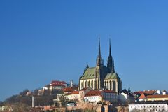 Brno - Czech Republic - Europe. Photo architectures sun and blue skies. Temple Petrov and Spilberk Castle. Brno - Czech Republic - Europe. Photo architectures Royalty Free Stock Image