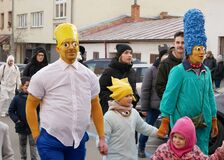 BRNO, CZECH REPUBLIC, FEBRUARY 29, 2020: The Simpsons Bart, Marge, Maggie, Homer, Lisa people masks gypsy action Carnival Masopust