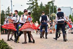 Brno, Czech Republic June 25, 2017. Czech traditional feast. Tradition folk dancing and entertainment. Girls and boys in costumes. Brno, Czech Republic June 25 Royalty Free Stock Images