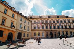 Moravian Museum at Zelny trh market square in Brno, Czech Republic